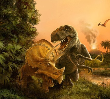 T Rex Vs Triceratops Fighting